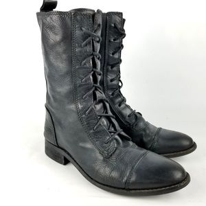 Zara TRF Lace Up Granny Boots Black Leather 38 EU